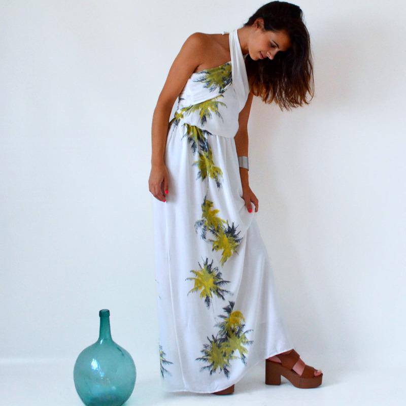 Vestido Blanco y Largo para Mujer Palm tree